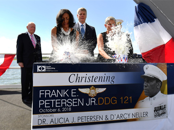 Destroyer Frank E. Petersen Jr. Christened